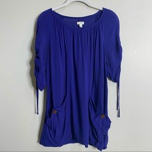 Anthropologie Odille Blue Tunic Blouse Size Small